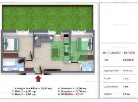 Predare Imediata! Apartament cu 3 camere si gradina de vanzare in Selimbar. Comision 0%!!!