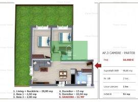 Apartament cu 3 camere si gradina de vanzare in Selimbar zona Tirajului. Comision 0%!!!