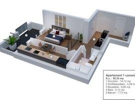 Apartament cu 1 camera la parter cu gradina Velvet Residence Turnisor