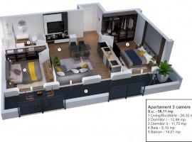 Apartament 3 camere decomandate et 2 Velvet Residence Turnisor