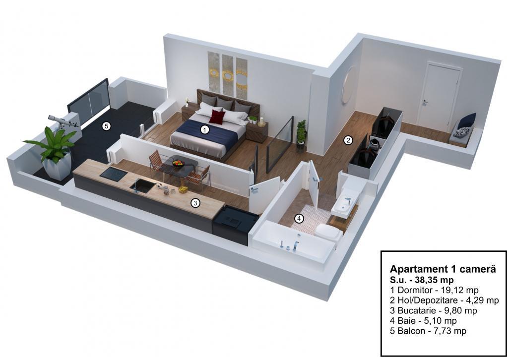 Apartament cu 1 camera si balcon etaj 1 Velvet Residence Turnisor
