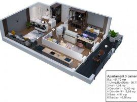Apartament 3 camere decomandate etaj 1 in Velvet Residence Turnisor