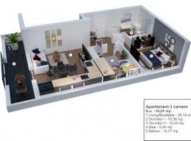 Apartament 3 camere decomandate etaj 1 Velvet Residence Turnisor