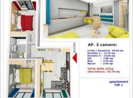 OCAZIE ! Apartament 3 camere decomandat 53 mp + balcon Selimbar