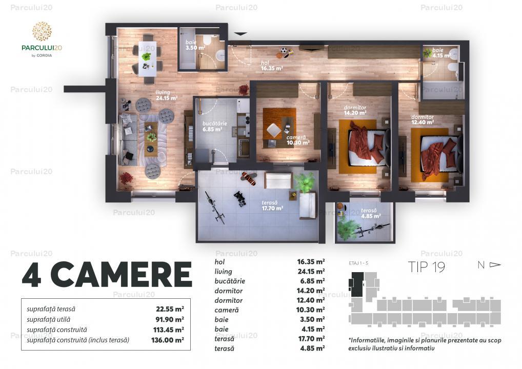 Apartament cu 4 camere lângă Parcul Herăstrău