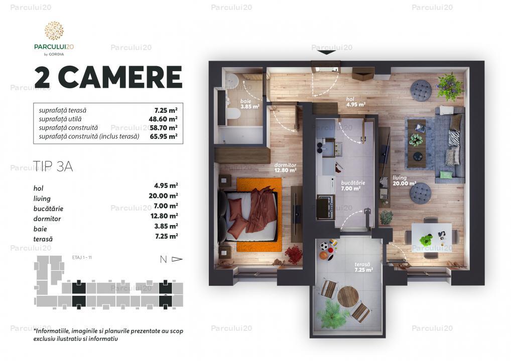Apartament cu două camere, bucătărie închisă, în zona Expoziției