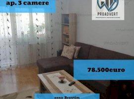 Apartament trei camere, confort 1, decomandat, zona Braytim