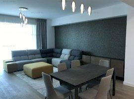 Apartament 4 camere Herastrau , 134mp, etaj 4/11, mobilat si utilat de lux. Loc de parcare subteran.