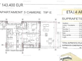 Apartament 3 camere decomandat.