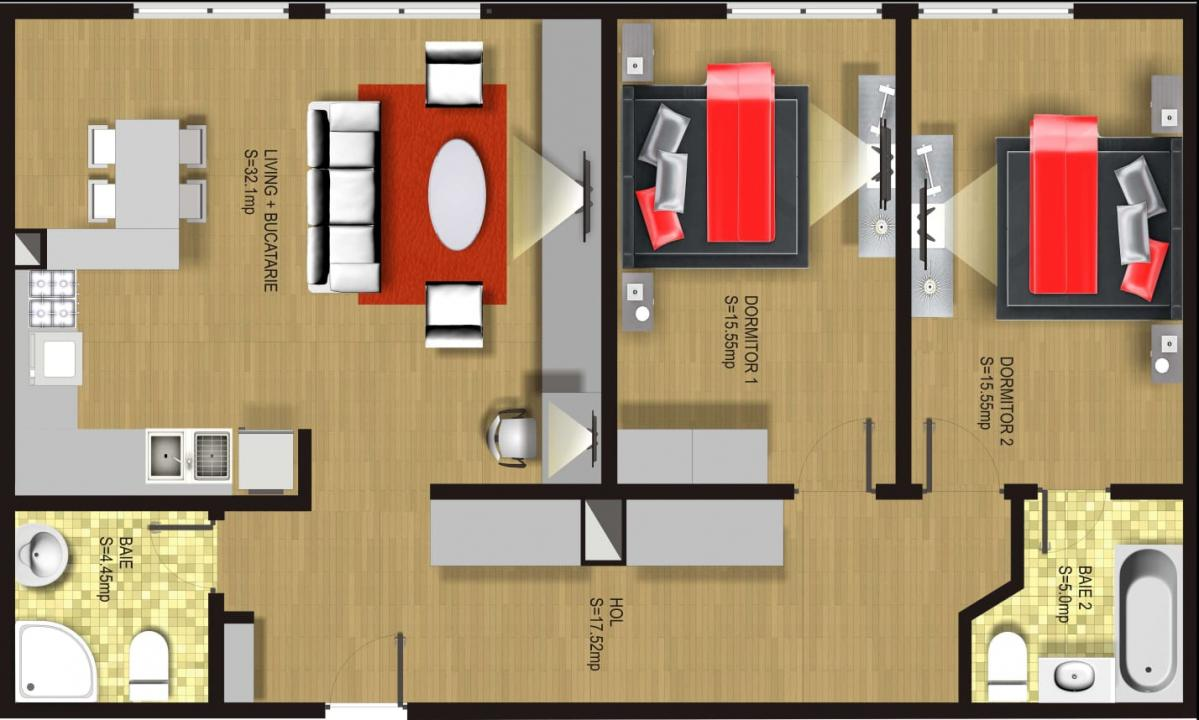 Rin Grand Residence Apartament 3 camere utilat/mobilat lux + parcare