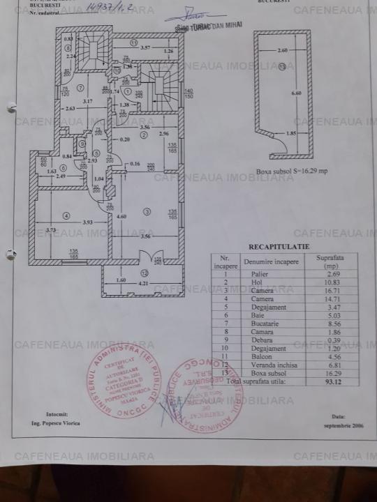 Vanzare-Inchiriere 2-3camere in  vila Domenii-Manastirea Casin