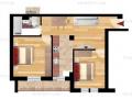 Apartament cu 2 camere, la gri, în bloc nou