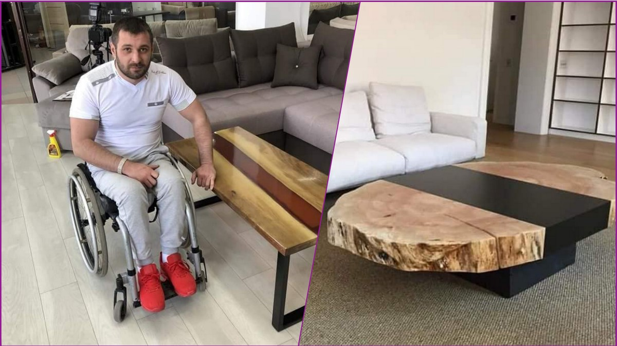 Tanar in scaun cu rotile din Moldova creeaza mese 3D din lemn si sticla